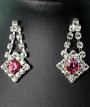 Bridesmaids Pink Diamante Crystal Necklace Earrings Set Prom 32K