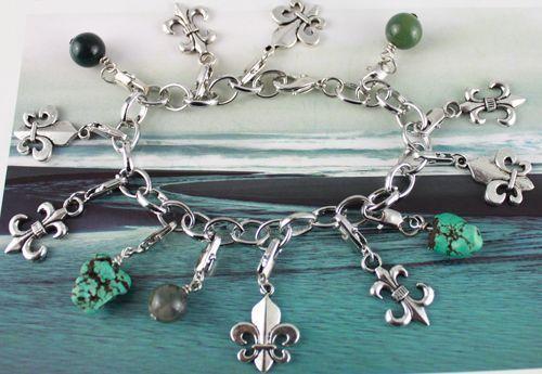 1pcs Tibetan silver Fleur de lis charm bracelet