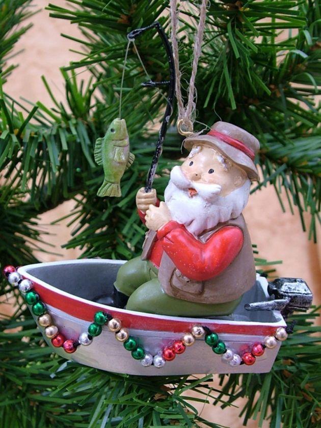 Santa claus fishing boat hat pole christmas ornament