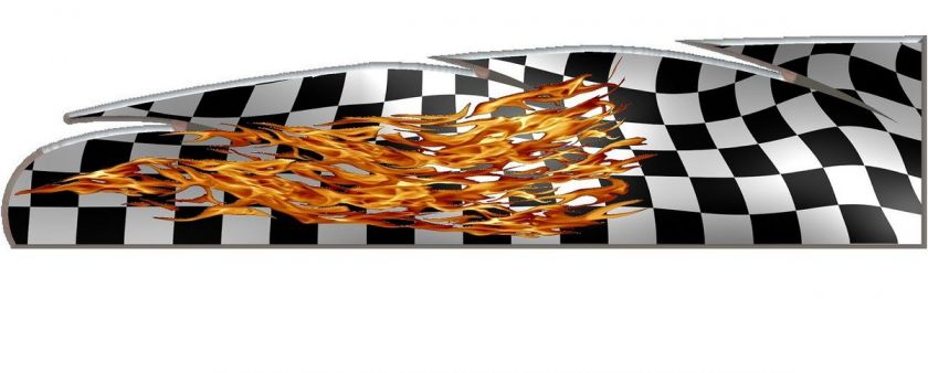 Checkered racing flag flame go kart race car vinyl graphic decal wrap