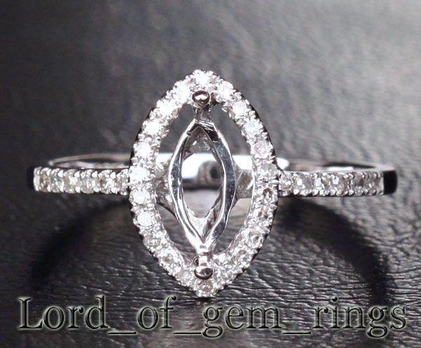 5x7mm marquise 14k white gold diamond semi mount ring